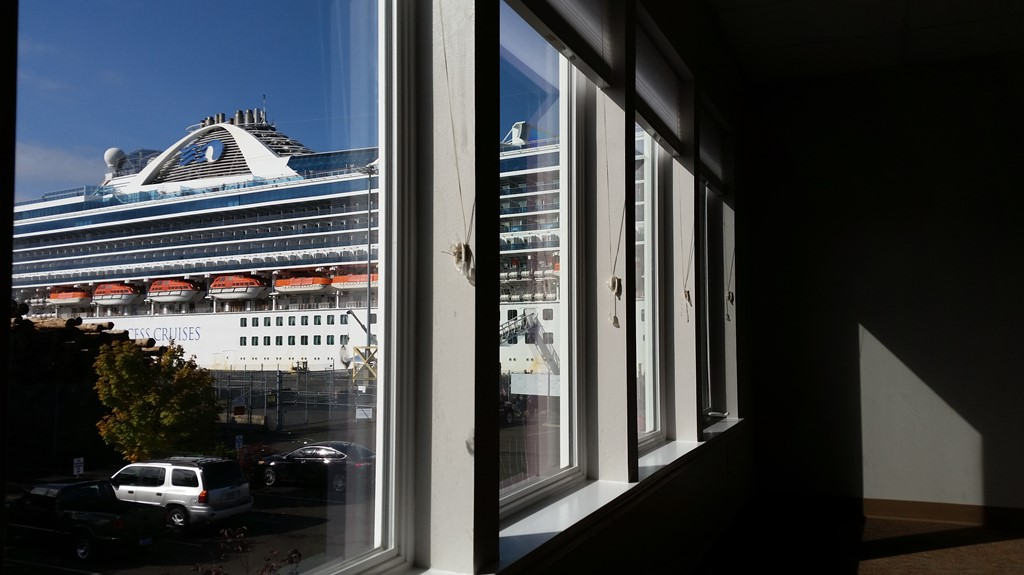 Cruise ship as seen from Suite 203