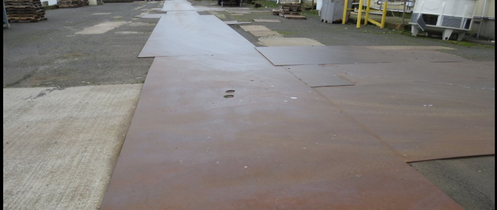Pier 2 Outside of building, metal sheets covering dock
