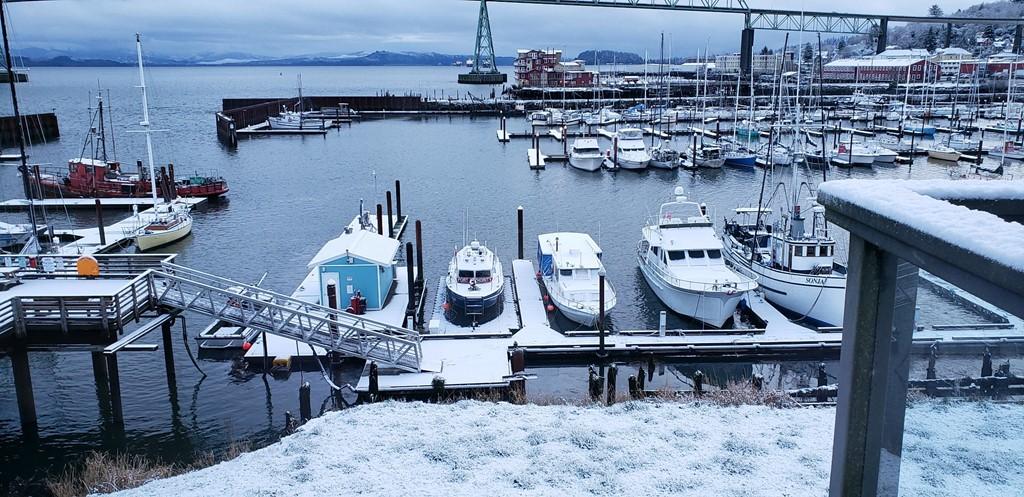 Snow covered marina