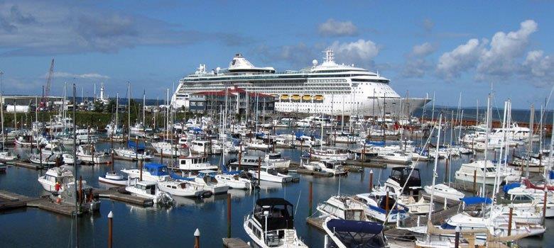 Cruise ship docked at West Basin